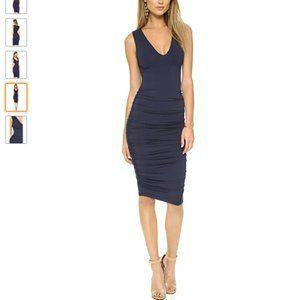 Alice + Olivia Ruched Navy V-Neck Midi Dress sz 2